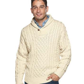 Double L and reg; Cotton Fisherman Shawl Sweater: Henleys and Zip-Necks | Free Shipping at L.L.Bean