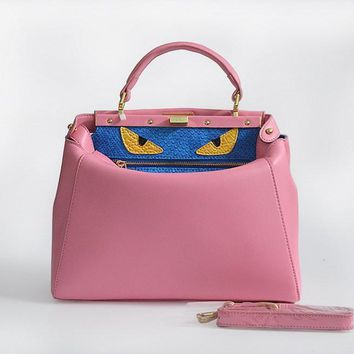 fendi women s fashion pink classic leather shoulder tote handbag bag