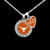 Collegiate Round College Logo with Spirit Slogan Charm Necklace