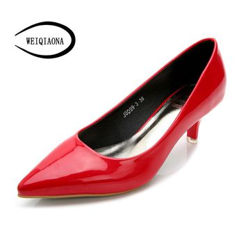 WEIQIAONA Woman Shoes Patent leather Low Heels Women Pumps Stiletto Thin Heel Women's Work shoe Pointed Toe red Wedding Shoes