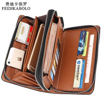 Luxury Wallets Double Zipper Leather Male Purse Business Men Long Wallet Designer Brand Men Clutch Handy Bag