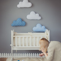 Kids Stuffed Cloud shaped pillow - Gift Ideas Baby Toddler Mobile - white blue nursery room decor