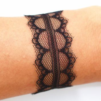 SL169 Bracelets & Bangles For Women Gothic Vintage Black Snake Lace Pulseiras Women Cuff Bracelet Jewelry Bijoux One Direction