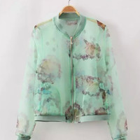 Green Abstract Printed Sheer Mesh Zip Up Varsity Jacket