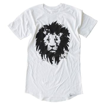 Lion White Long Body T-Shirt