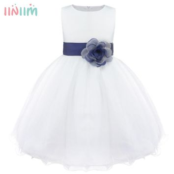 9 Color Girls Flower Dress Children Bridesmaid Tutu Toddler Elegant Dress Pageant Wedding Tulle Formal Costume Party Dress Gift