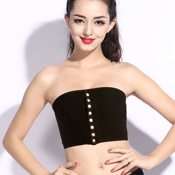 Women Sexy Buttons Tube Top Vintage Strapless Crop Top with button closures down the front High Stretch