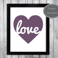 Printable Wall Art, Plum Purple Love Heart, Motivational Prints for office and home decor, instant JPG download