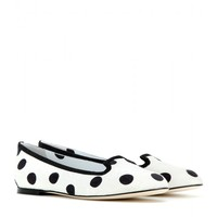 Vally polka-dot brocade slippers