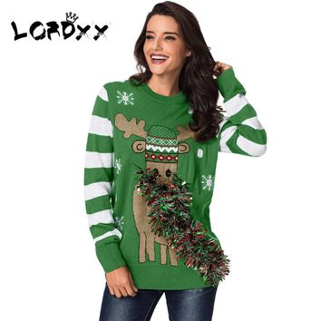 LORDXX Winter Ugly christmas sweater Women Green Festive Reindeer Holiday Sweaters woman Knitting Pullovers Jumper Ladies