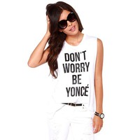 Summer Letter White Tank Top Tops Camisetas Y Tops Fitness Women Ropa Mujer Plus Size T Shirt Women Tops 2015 Tee Shirts