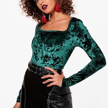 Jannet Crushed Velvet Square Neck | Boohoo