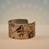 Custom Wonder Woman Comic Cuff Bangle Bracelet - Womens Cuff Bracelet