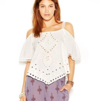 Free People Toosaloosa Slub Dahlia Cutwork Off-Shoulder Square-Neck Eyelet Top