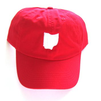 Low Profile Full Coverage Dad Hat - White and Red Ohio - All States Available