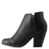 Black Cap-Toe Zipper-Trim Ankle Booties by Charlotte Russe