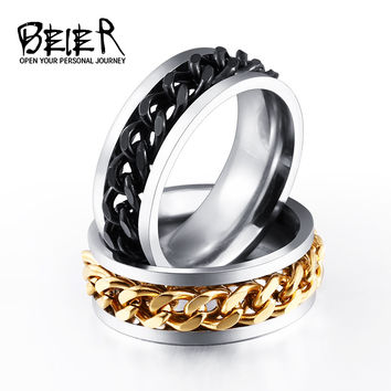 BEIER New Plated Gold/Black Man's Cool Spin Chain Ring For Man Stainless Steel Cool Man Woman Fashion Jewelry BR-R054