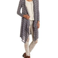 Marled Stripe Cascade Duster Cardigan by Charlotte Russe - Blue Combo