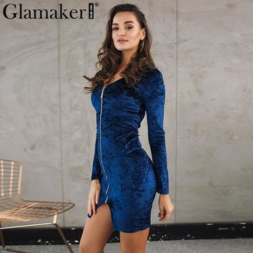 Glamaker Velvet split slim bodycon dress Women autumn long sleeve zipper sexy mini dress vestidos Winter party club female dress