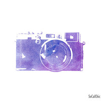 Camera Watercolor Print Fine Art Travel Photography