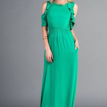 Cold Shoulder Ruffle Maxi Dress - Green