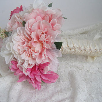 Beautiful Pink Mixed Flower Bridal Prom Bouquet French Knotted with Light Ivory Satin Ribbon and Pearls Down Front of  Handle Ready to Ship