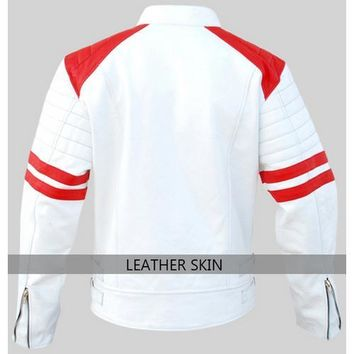 Leather Skin White Men Mens with Red Patches Genuine Leather Jacket