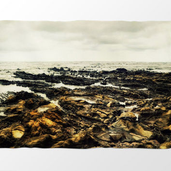 Samara Reef - Fleece Blanket, Light Gray & Tan Brown Home Accent, Beach Surf Style Coastal Decor Coral Fleece Throw. In 30x40 50x60 60x80