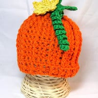 Crochet Baby Pumpkin hat crochet beanie with detachable pumpkin flower