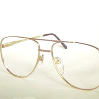 Mens Gold Aviator Eyeglasses, Vintage New Old Stock Metal Frames with Flexible Temple Arms, Available in Silver