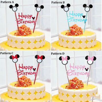 Mickey Minnie Mouse Cake Topper for Kids Happy Birthday Party Decoration Supplies Baby Shower Party Decoration Can Be Written