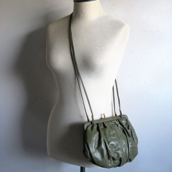 Vintage 1980s Handbag Army Green Leather Bubble Shoulder Bag