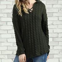 Olive Cable-Knit Crisscross Hooded Sweater - Plus Too