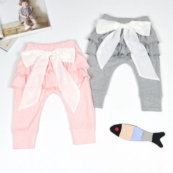 Fashion Autumn spring Baby Girls Leggings Cute Pattern Pink Big Bow Baby Pants 0-3Y Toddler Girls Clothing free drop shipping