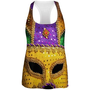 Mardi Gras Mask All Over Womens Work Out Tank Top