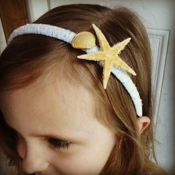 White Lace Starfish Seashell Ocean Headband