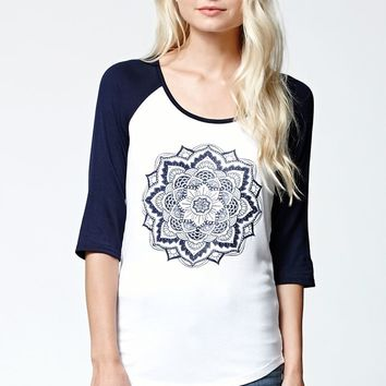 LA Hearts Henna Ribbed Raglan T-Shirt - Womens Tee - White