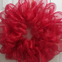 Red Hot Deco Mesh Wreath
