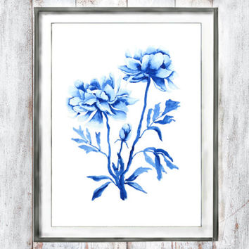 Watercolor Print Vintage Botanical Print Purple blue  flower peony watercolor painting wall decor floral art watercolor flower  wall art