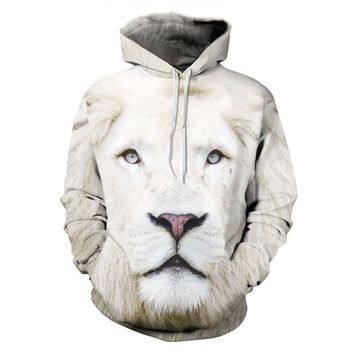 Men's Long Sleeves Casual Hoodies Sweatshirts Polar Bear Animal Pattern 3D Print Couple Long-sleeve Hood with Hat Keep Warm Tops