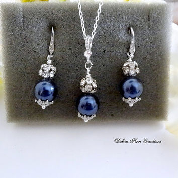 Swarovski Navy Blue Pearl Necklace Earring Set Antique Silver Crystal Navy Wedding Bridal Jewelry Bridesmaid Set Mother of Bride Groom Gift