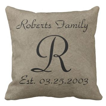 Coffee Faux Leather Monogram Anniversary Throw Pillow
