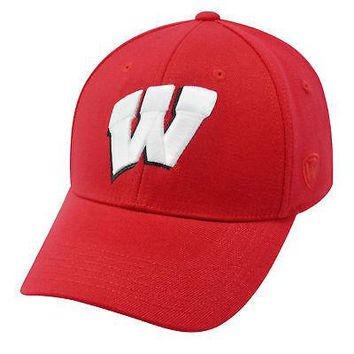 Licensed Wisconsin Badgers Official NCAA One Fit Wool Hat Cap by Top of the World 268330 KO_19_1