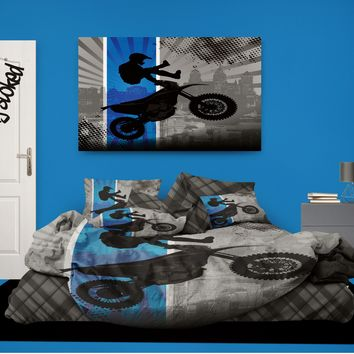 """Motocross Comforter """"Dream in Extreme"""" in Blue from Extremely Stoked Motocross Bedding collection"""