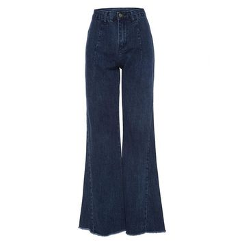 Women casual jeans autumn winter dark blue high waist flare pants denim loose fashion full length bell bottoms jeans