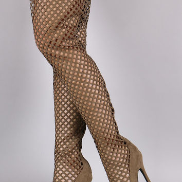 Privileged Suede Cutout Pointy Toe Stiletto Over-The-Knee Boots