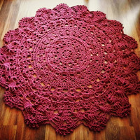 Giant Crochet Doily Rug in Deep Rose Lace - Large Area Rug- Round Rug, Handmade-Cottage Chic- Oversized- home decor- floor-