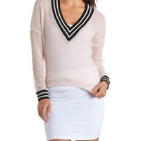 Open Knit Varsity Pullover Top by Charlotte Russe
