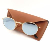 Ray Ban 3447 N 001/30 Shiny Gold Flat Mirror New Sunglasses Authentic