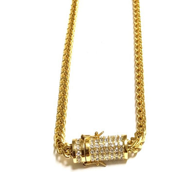 Men's Franco 8MM Necklace with Round Clap Stones